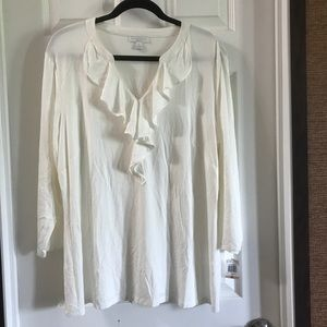 NWT Charter Club Off White Ruffle LS Blouse 2X